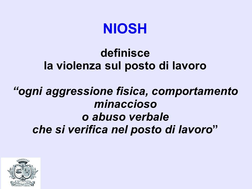 NIOSH definisce la violenza sul posto di lavoro ogni aggressione fisica, comportamento minaccioso o abuso verbale che si verifica nel posto di lavoro