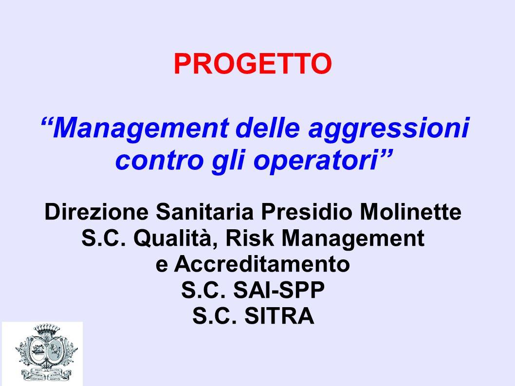 PROGETTO Management delle aggressioni contro gli operatori Direzione Sanitaria Presidio Molinette S.C. Qualità, Risk Management e Accreditamento S.C.