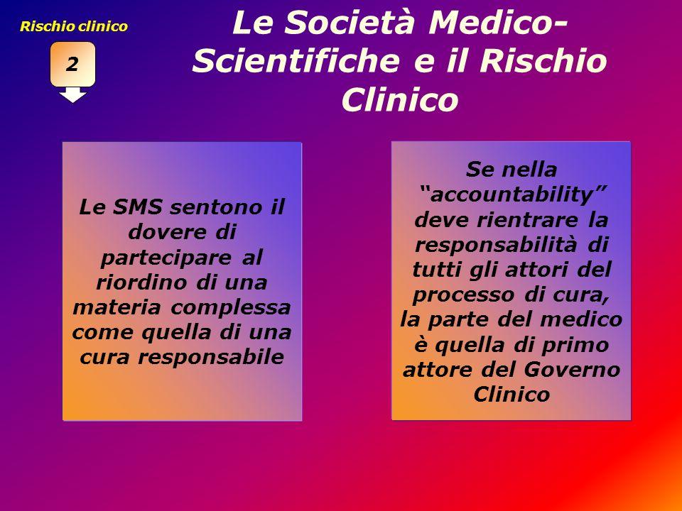 Le Società Medico- Scientifiche e il Rischio Clinico Le SMS sentono il dovere di partecipare al riordino di una materia complessa come quella di una c