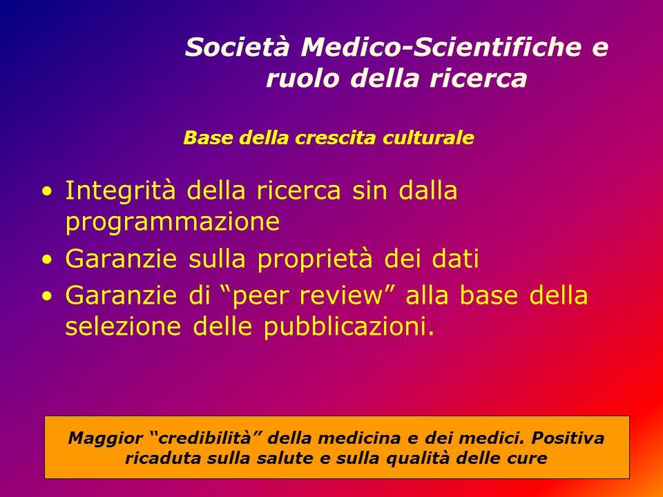 Società Medico-Scientifiche e ruolo della ricerca Integrità della ricerca sin dalla programmazione Garanzie sulla proprietà dei dati Garanzie di peer