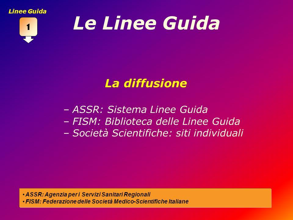 Le Linee Guida La diffusione –ASSR: Sistema Linee Guida –FISM: Biblioteca delle Linee Guida –Società Scientifiche: siti individuali ASSR: Agenzia per