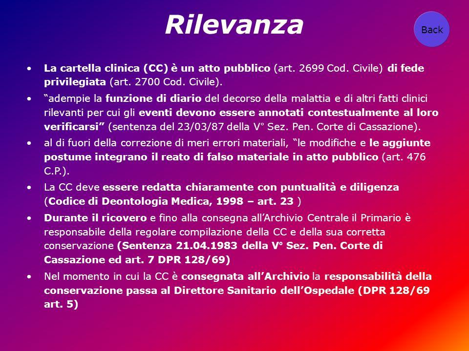 Rilevanza La cartella clinica (CC) è un atto pubblico (art. 2699 Cod. Civile) di fede privilegiata (art. 2700 Cod. Civile). adempie la funzione di dia