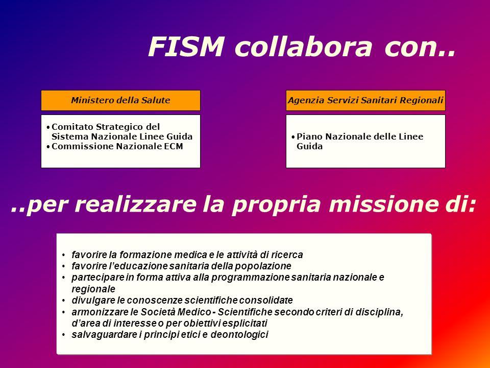 FISM collabora con.. Comitato Strategico del Sistema Nazionale Linee Guida Commissione Nazionale ECM Ministero della Salute favorire la formazione med