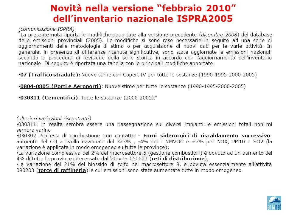 Novità nella versione febbraio 2010 dellinventario nazionale ISPRA2005 (comunicazione ISPRA) La presente nota riporta le modifiche apportate alla versione precedente (dicembre 2008) del database delle emissioni provinciali (2005).