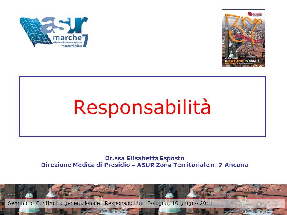 Responsabilità Dr.ssa Elisabetta Esposto Direzione Medica di Presidio – ASUR Zona Territoriale n. 7 Ancona Seminario Continuità generazionale: Respons
