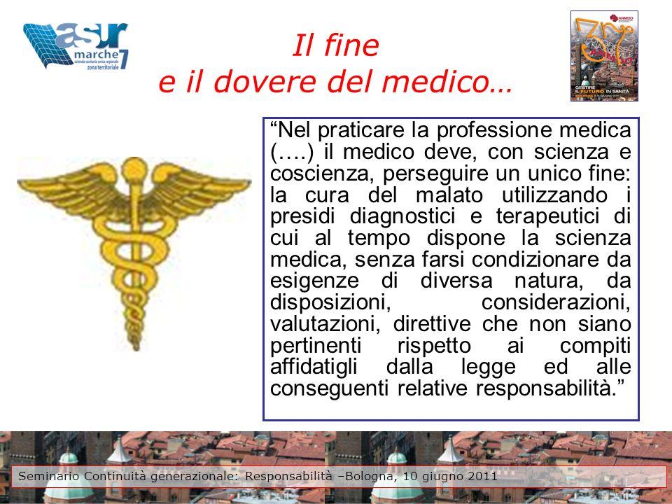 Il fine e il dovere del medico… Nel praticare la professione medica (….) il medico deve, con scienza e coscienza, perseguire un unico fine: la cura de