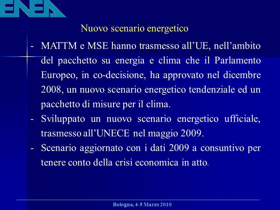 Bologna, 4-5 Marzo 2010 Nuovo scenario energetico -MATTM e MSE hanno trasmesso allUE, nellambito del pacchetto su energia e clima che il Parlamento Europeo, in co-decisione, ha approvato nel dicembre 2008, un nuovo scenario energetico tendenziale ed un pacchetto di misure per il clima.