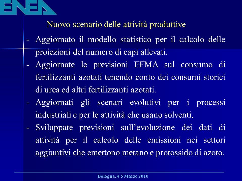 Bologna, 4-5 Marzo 2010 Nuovo scenario delle attività produttive -Aggiornato il modello statistico per il calcolo delle proiezioni del numero di capi allevati.