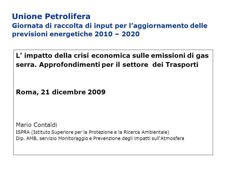 Unione Petrolifera Giornata di raccolta di input per laggiornamento delle previsioni energetiche 2010 – 2020 L impatto della crisi economica sulle emissioni di gas serra.