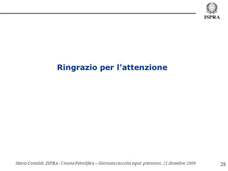 Mario Contaldi, ISPRA - Unione Petrolifera – Giornata raccolta input previsioni, 21 dicembre 2009 28 Ringrazio per lattenzione