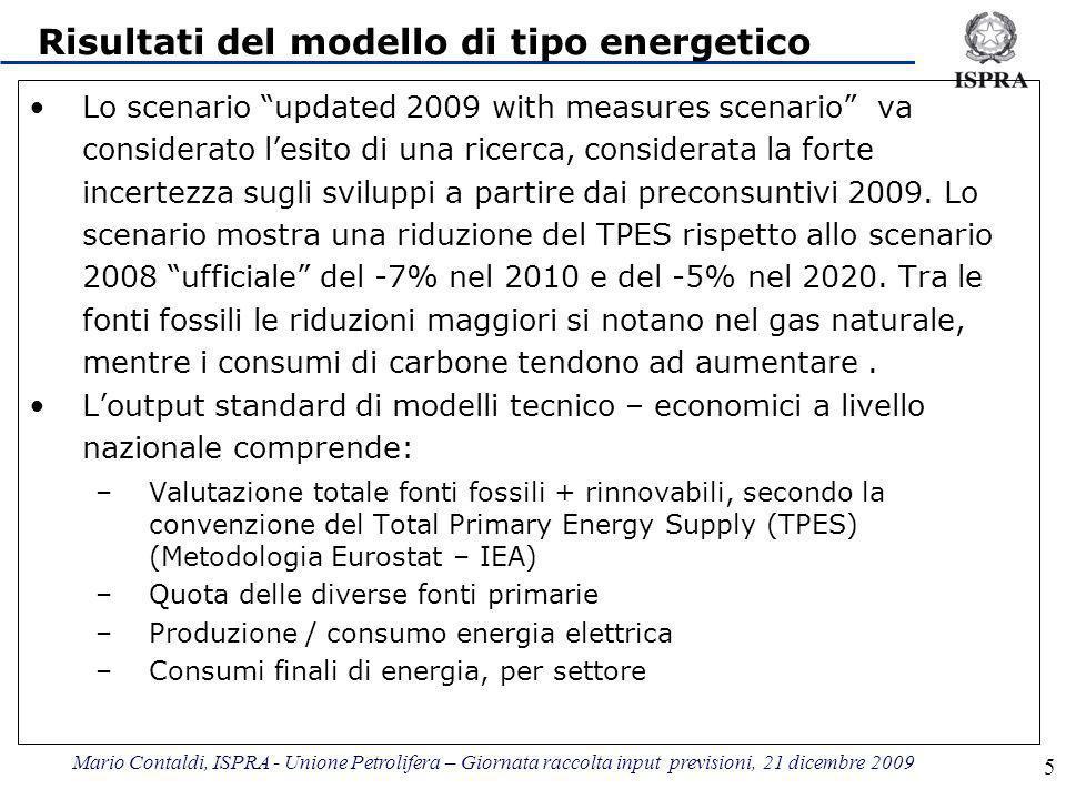 Mario Contaldi, ISPRA - Unione Petrolifera – Giornata raccolta input previsioni, 21 dicembre 2009 5 Risultati del modello di tipo energetico Lo scenario updated 2009 with measures scenario va considerato lesito di una ricerca, considerata la forte incertezza sugli sviluppi a partire dai preconsuntivi 2009.