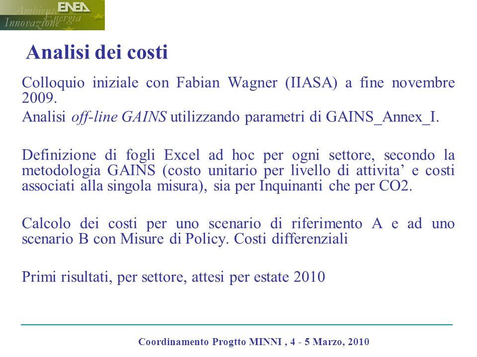Analisi dei costi Colloquio iniziale con Fabian Wagner (IIASA) a fine novembre 2009. Analisi off-line GAINS utilizzando parametri di GAINS_Annex_I. De