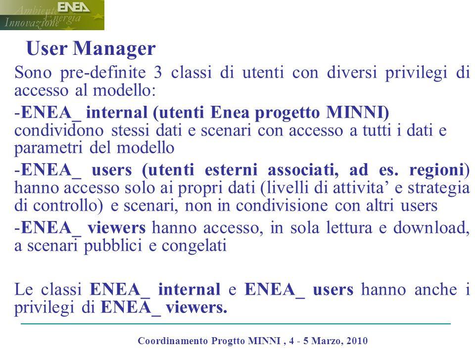 User Manager Sono pre-definite 3 classi di utenti con diversi privilegi di accesso al modello: -ENEA_ internal (utenti Enea progetto MINNI) condividono stessi dati e scenari con accesso a tutti i dati e parametri del modello -ENEA_ users (utenti esterni associati, ad es.