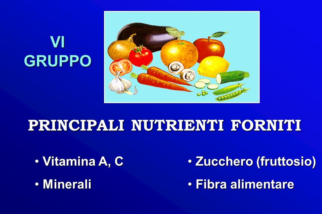 PRINCIPALI NUTRIENTI FORNITI VI GRUPPO Vitamina A, C Vitamina A, C Minerali Minerali Zucchero (fruttosio) Zucchero (fruttosio) Fibra alimentare Fibra
