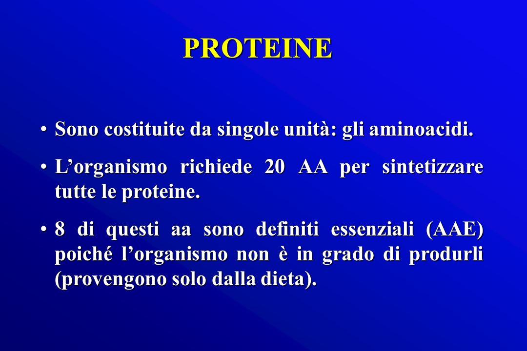 PROTEINE Sono costituite da singole unità: gli aminoacidi.Sono costituite da singole unità: gli aminoacidi. Lorganismo richiede 20 AA per sintetizzare