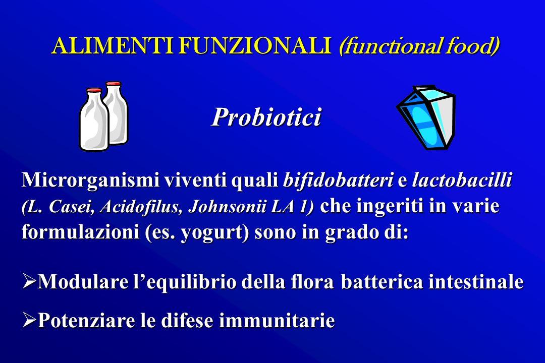 ALIMENTI FUNZIONALI (functional food) Microrganismi viventi quali bifidobatteri e lactobacilli (L. Casei, Acidofilus, Johnsonii LA 1) che ingeriti in