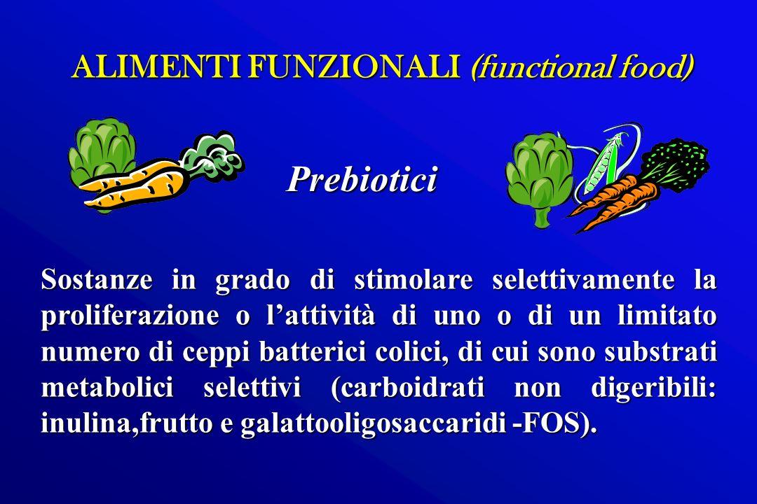 ALIMENTI FUNZIONALI (functional food) Sostanze in grado di stimolare selettivamente la proliferazione o lattività di uno o di un limitato numero di ce
