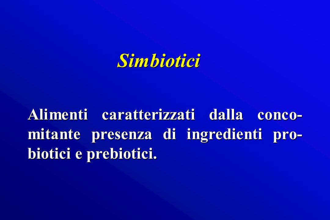 Alimenti caratterizzati dalla conco- mitante presenza di ingredienti pro- biotici e prebiotici. Simbiotici