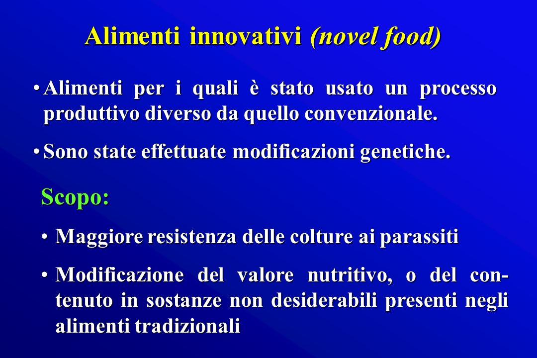 Alimenti innovativi (novel food) Alimenti innovativi (novel food) Alimenti per i quali è stato usato un processo produttivo diverso da quello convenzi