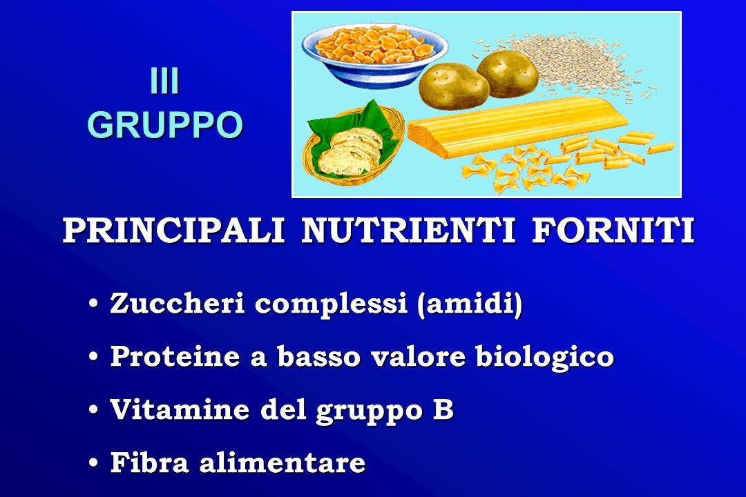 Zuccheri complessi (amidi) Zuccheri complessi (amidi) Proteine a basso valore biologico Proteine a basso valore biologico Vitamine del gruppo B Vitami