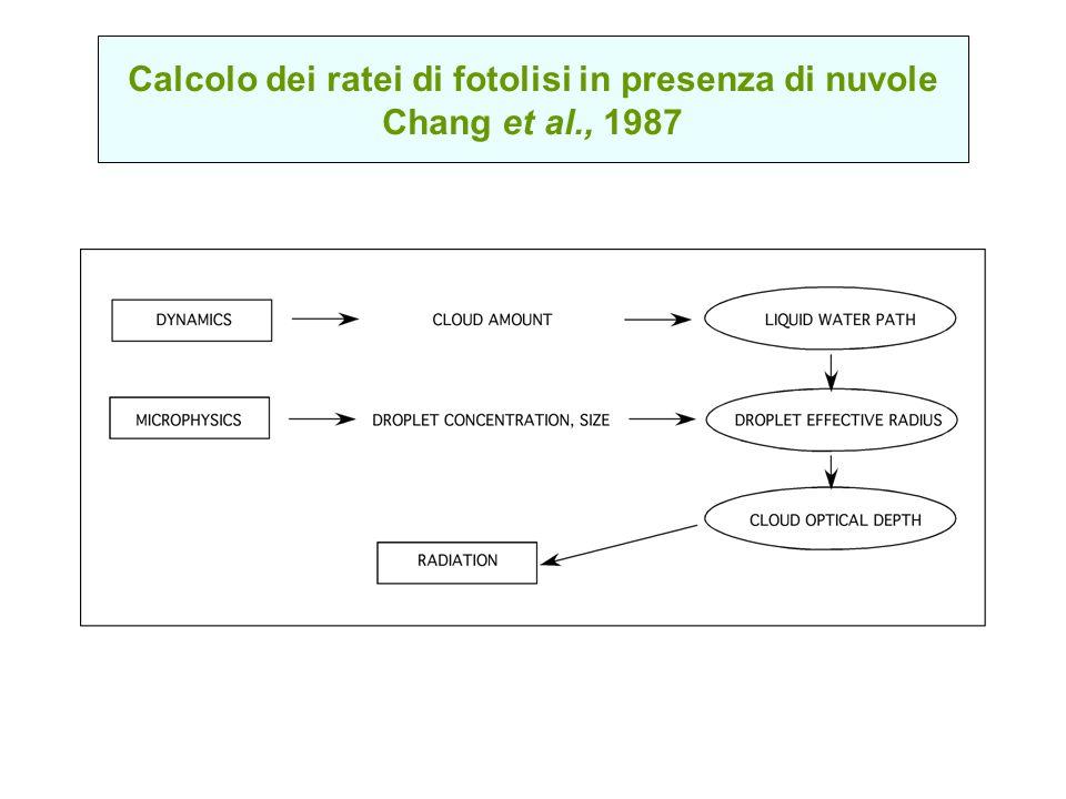 Calcolo dei ratei di fotolisi in presenza di nuvole Chang et al., 1987