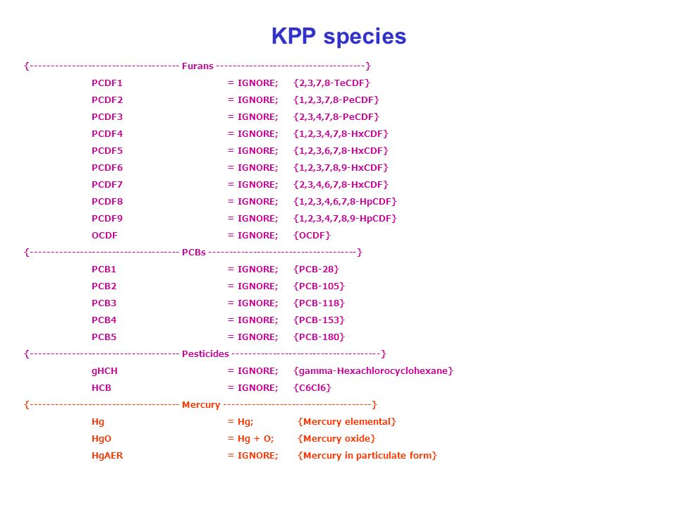 KPP species {------------------------------------- Furans -------------------------------------} PCDF1= IGNORE; {2,3,7,8-TeCDF} PCDF2= IGNORE; {1,2,3,7,8-PeCDF} PCDF3= IGNORE; {2,3,4,7,8-PeCDF} PCDF4= IGNORE; {1,2,3,4,7,8-HxCDF} PCDF5= IGNORE; {1,2,3,6,7,8-HxCDF} PCDF6= IGNORE; {1,2,3,7,8,9-HxCDF} PCDF7= IGNORE; {2,3,4,6,7,8-HxCDF} PCDF8= IGNORE; {1,2,3,4,6,7,8-HpCDF} PCDF9= IGNORE; {1,2,3,4,7,8,9-HpCDF} OCDF= IGNORE; {OCDF} {------------------------------------- PCBs -------------------------------------} PCB1= IGNORE; {PCB-28} PCB2= IGNORE; {PCB-105} PCB3= IGNORE; {PCB-118} PCB4= IGNORE; {PCB-153} PCB5= IGNORE; {PCB-180} {------------------------------------- Pesticides -------------------------------------} gHCH= IGNORE; {gamma-Hexachlorocyclohexane} HCB= IGNORE; {C6Cl6} {------------------------------------- Mercury -------------------------------------} Hg= Hg; {Mercury elemental} HgO= Hg + O; {Mercury oxide} HgAER= IGNORE; {Mercury in particulate form}