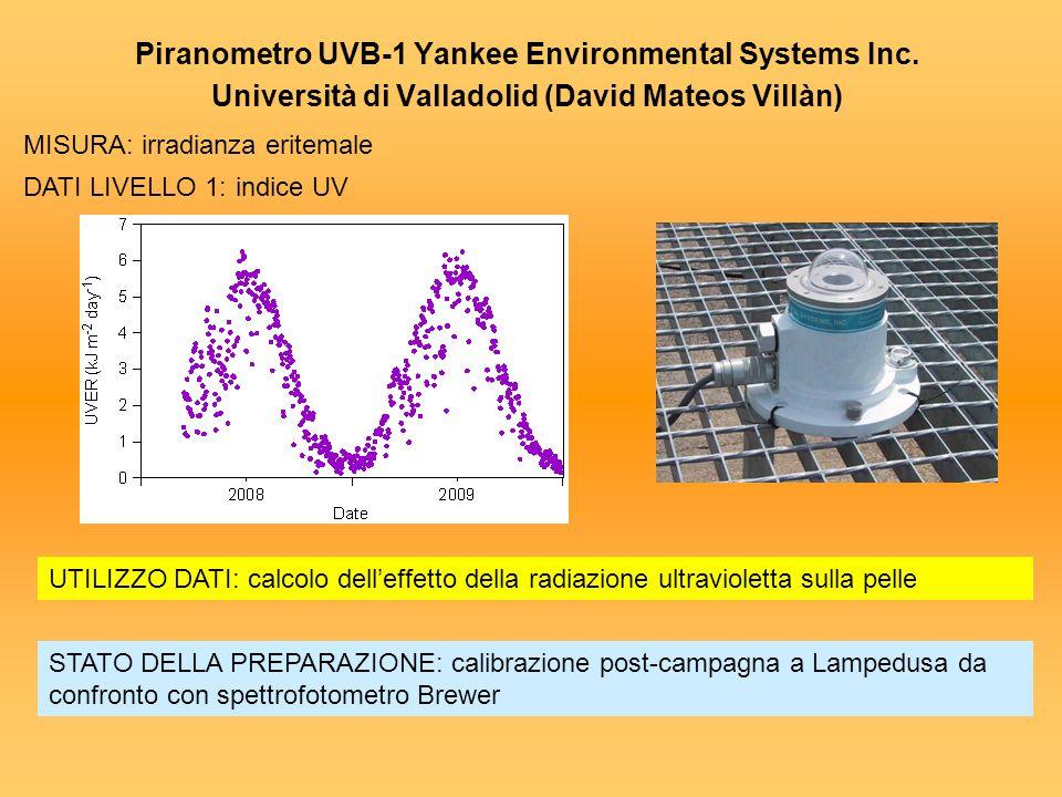 Piranometro UVB-1 Yankee Environmental Systems Inc. Università di Valladolid (David Mateos Villàn) MISURA: irradianza eritemale DATI LIVELLO 1:indice