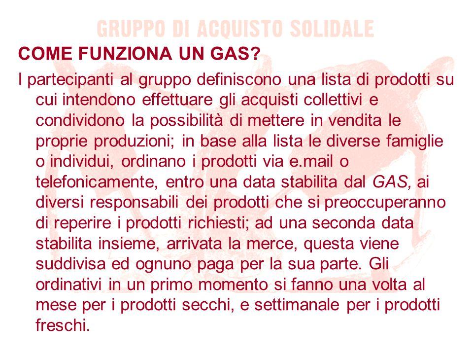 COME FUNZIONA UN GAS? I partecipanti al gruppo definiscono una lista di prodotti su cui intendono effettuare gli acquisti collettivi e condividono la