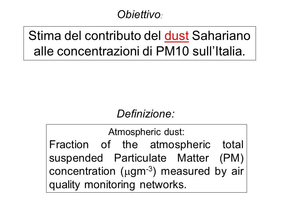 Obiettivo : Stima del contributo del dust Sahariano alle concentrazioni di PM10 sullItalia.