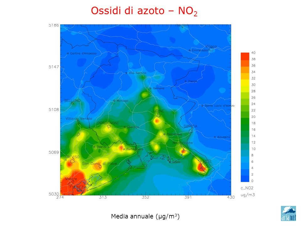 Ossidi di azoto – NO 2 Media annuale (μg/m 3 )