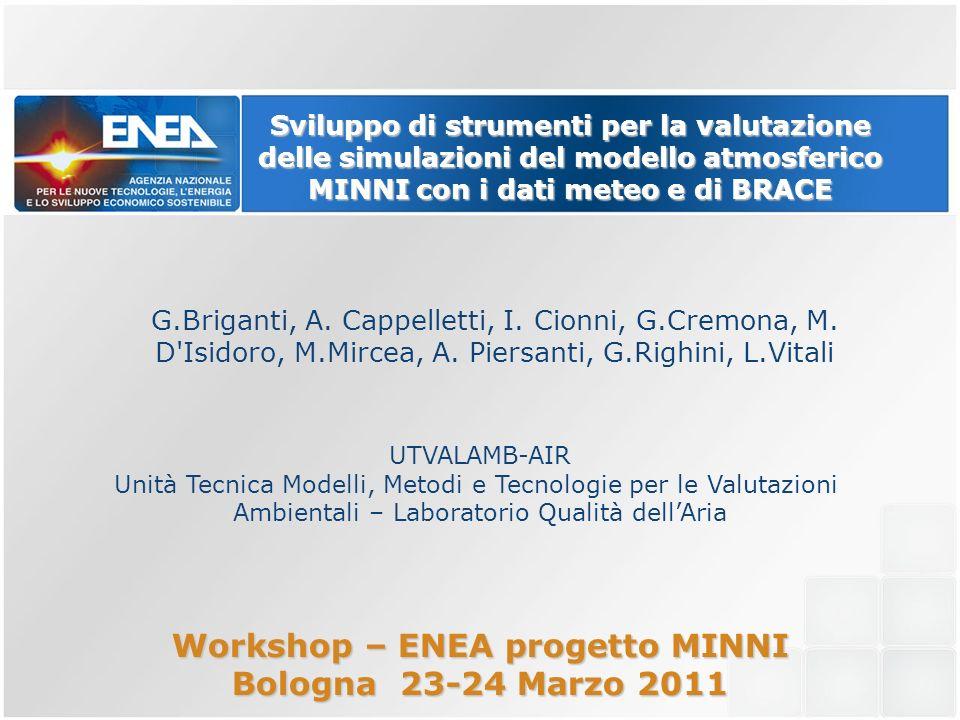 Sviluppo di strumenti per la valutazione delle simulazioni del modello atmosferico MINNI con i dati meteo e di BRACE G.Briganti, A.