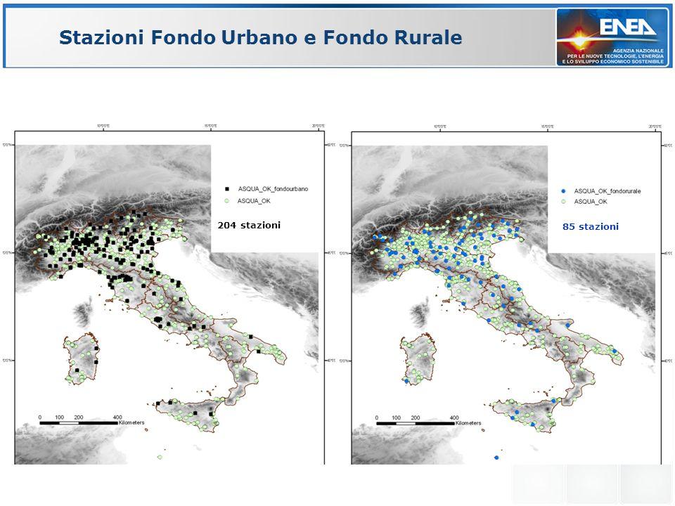 Stazioni Fondo Urbano e Fondo Rurale 204 stazioni 85 stazioni