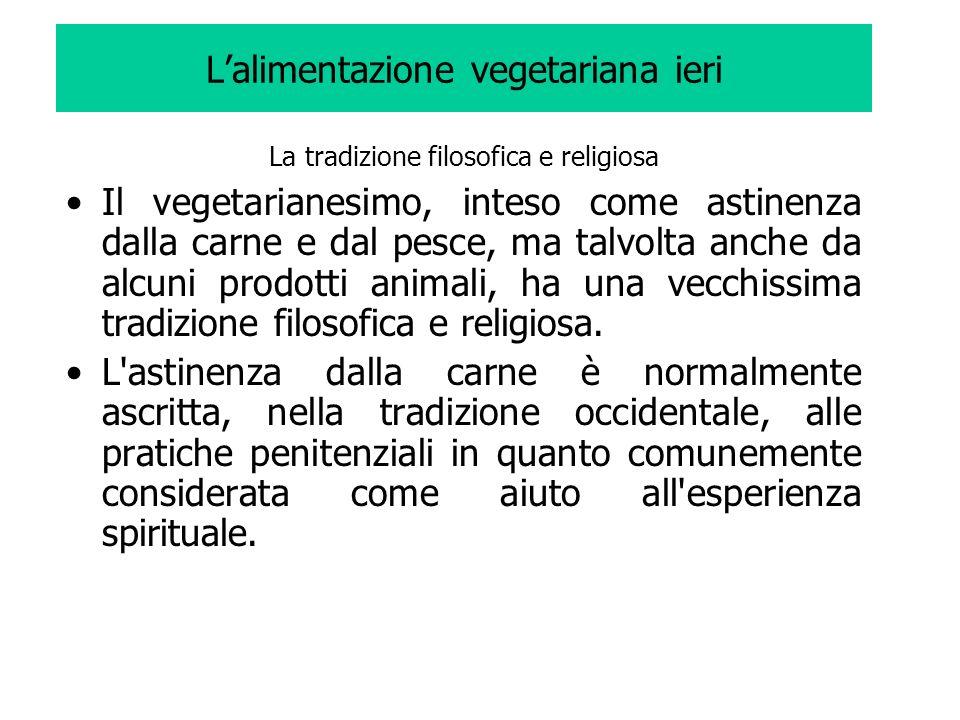 Lalimentazione vegetariana ieri La tradizione filosofica e religiosa Il vegetarianesimo, inteso come astinenza dalla carne e dal pesce, ma talvolta an