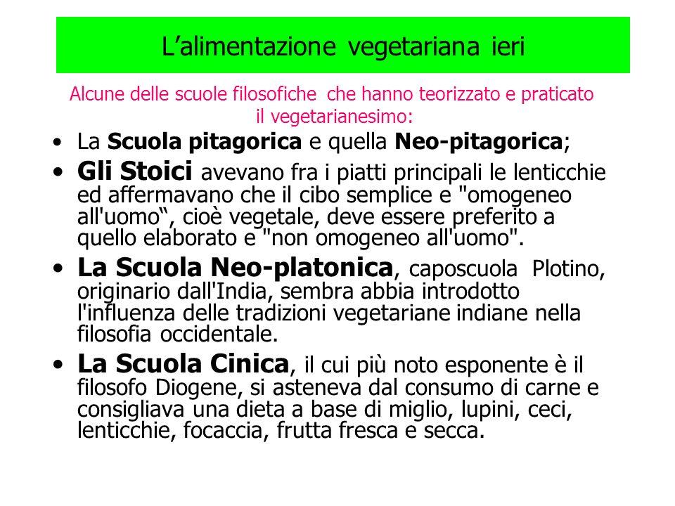 Lalimentazione vegetariana ieri Alcune delle scuole filosofiche che hanno teorizzato e praticato il vegetarianesimo: La Scuola pitagorica e quella Neo