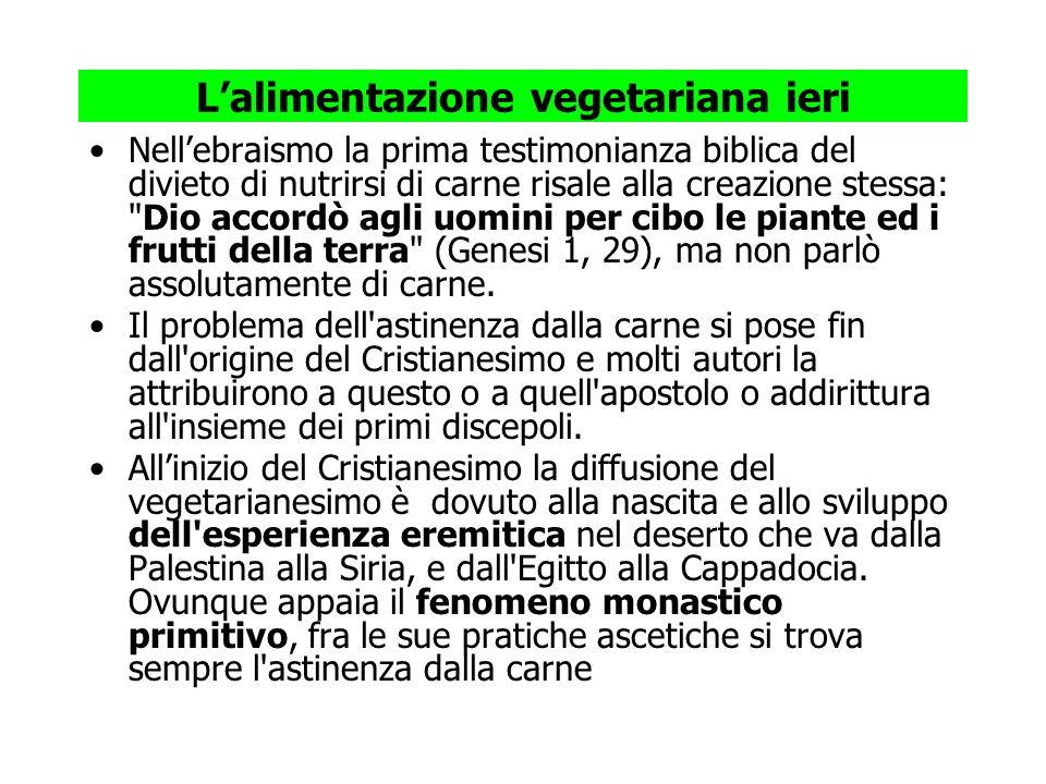 Lalimentazione vegetariana ieri Nellebraismo la prima testimonianza biblica del divieto di nutrirsi di carne risale alla creazione stessa: