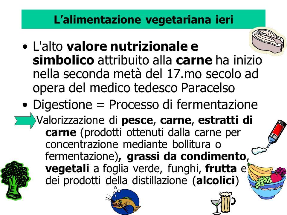 Lalimentazione vegetariana ieri L'alto valore nutrizionale e simbolico attribuito alla carne ha inizio nella seconda metà del 17.mo secolo ad opera de