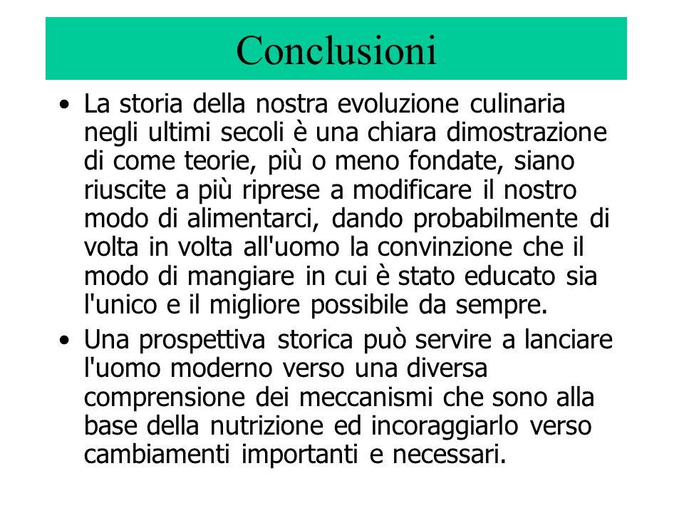 Conclusioni La storia della nostra evoluzione culinaria negli ultimi secoli è una chiara dimostrazione di come teorie, più o meno fondate, siano riusc