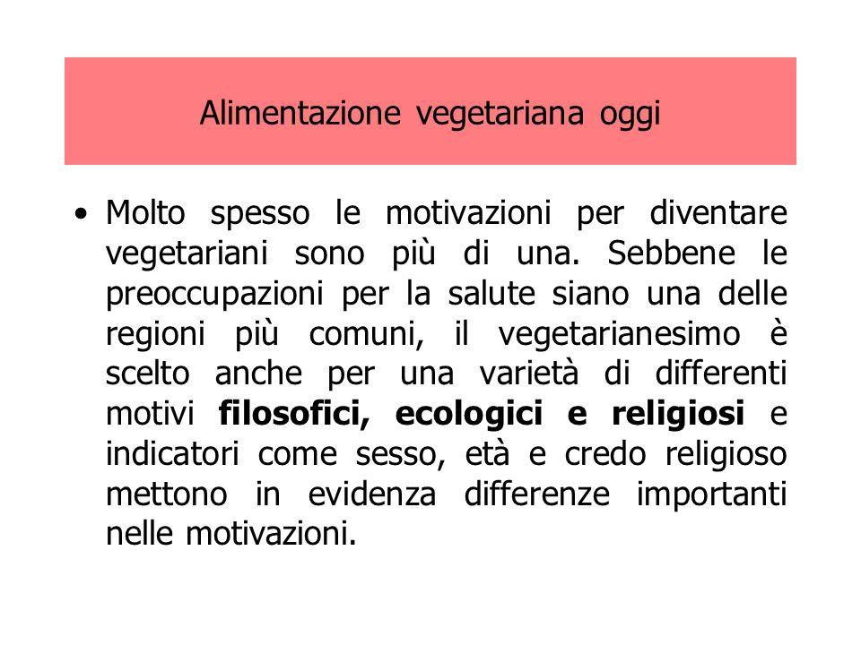 Alimentazione vegetariana oggi Le motivazioni etiche assumono al giorno d oggi una connotazione ancora più forte a causa della sempre maggiore diffusione degli allevamenti intensivi.