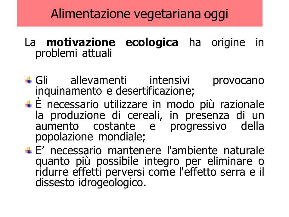 Alimentazione vegetariana oggi La motivazione ecologica ha origine in problemi attuali Gli allevamenti intensivi provocano inquinamento e desertificaz
