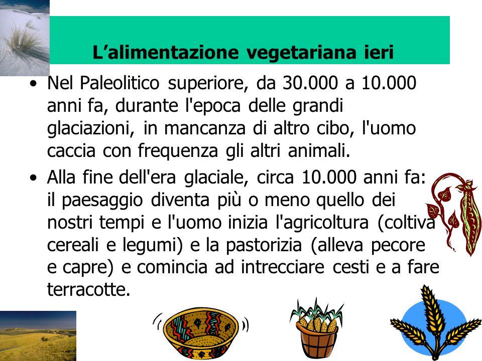 Lalimentazione vegetariana ieri Nel Paleolitico superiore, da 30.000 a 10.000 anni fa, durante l'epoca delle grandi glaciazioni, in mancanza di altro