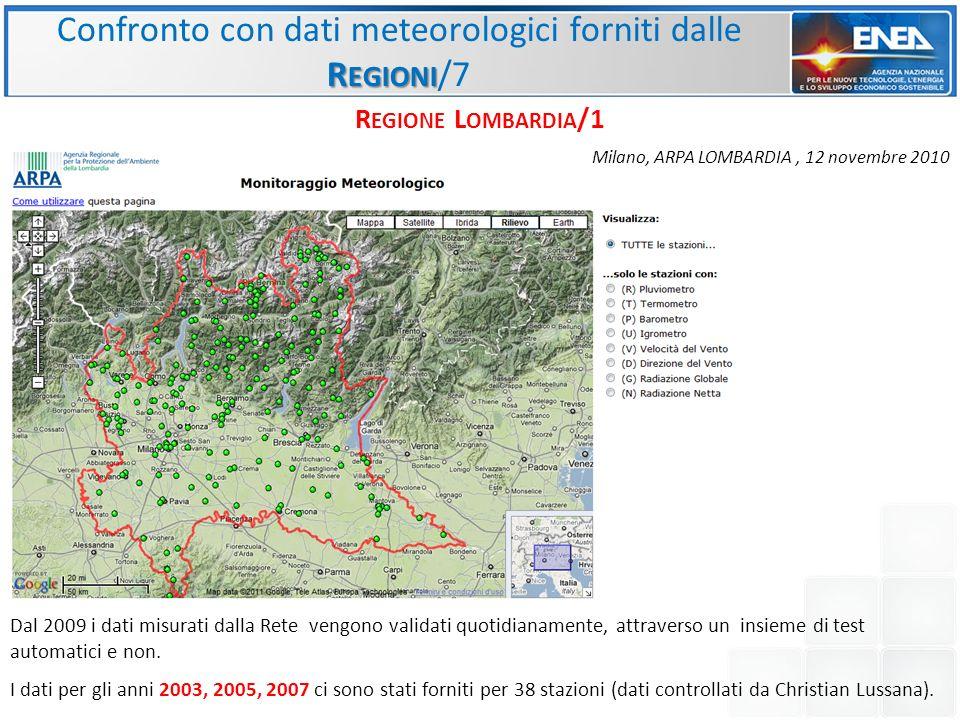 R EGIONI Confronto con dati meteorologici forniti dalle R EGIONI /7 R EGIONE L OMBARDIA /1 Dal 2009 i dati misurati dalla Rete vengono validati quotidianamente, attraverso un insieme di test automatici e non.