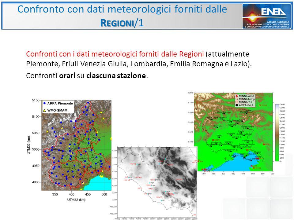 Confronti con i dati meteorologici forniti dalle Regioni (attualmente Piemonte, Friuli Venezia Giulia, Lombardia, Emilia Romagna e Lazio). Confronti o