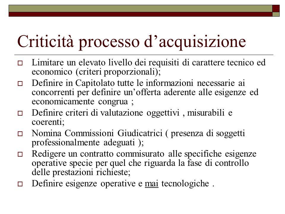 Criticità processo dacquisizione Limitare un elevato livello dei requisiti di carattere tecnico ed economico (criteri proporzionali); Definire in Capi