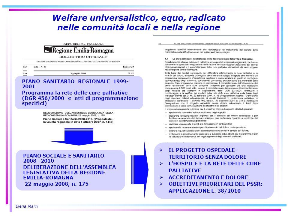 Elena Marri Welfare universalistico, equo, radicato nelle comunità locali e nella regione PIANO SANITARIO REGIONALE 1999- 2001 Programma la rete delle