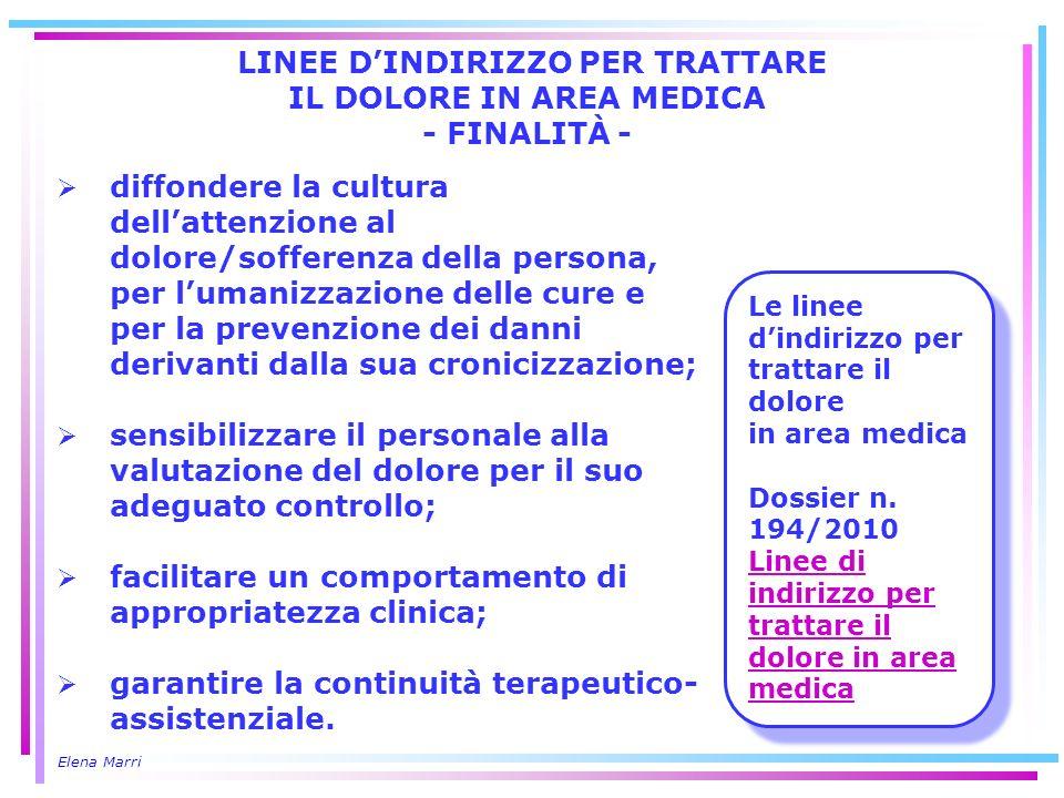Elena Marri LINEE DINDIRIZZO PER TRATTARE IL DOLORE IN AREA MEDICA - FINALITÀ - diffondere la cultura dellattenzione al dolore/sofferenza della person