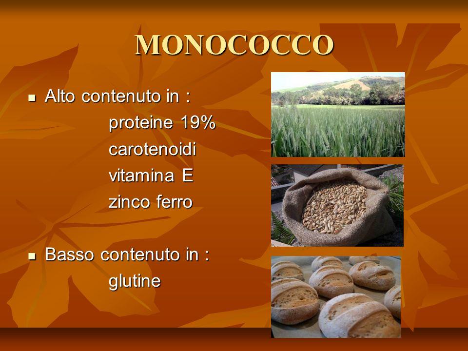 MONOCOCCO Alto contenuto in : Alto contenuto in : proteine 19% proteine 19% carotenoidi carotenoidi vitamina E vitamina E zinco ferro zinco ferro Basso contenuto in : Basso contenuto in : glutine glutine