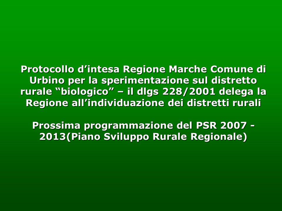 Protocollo dintesa Regione Marche Comune di Urbino per la sperimentazione sul distretto rurale biologico – il dlgs 228/2001 delega la Regione allindiv