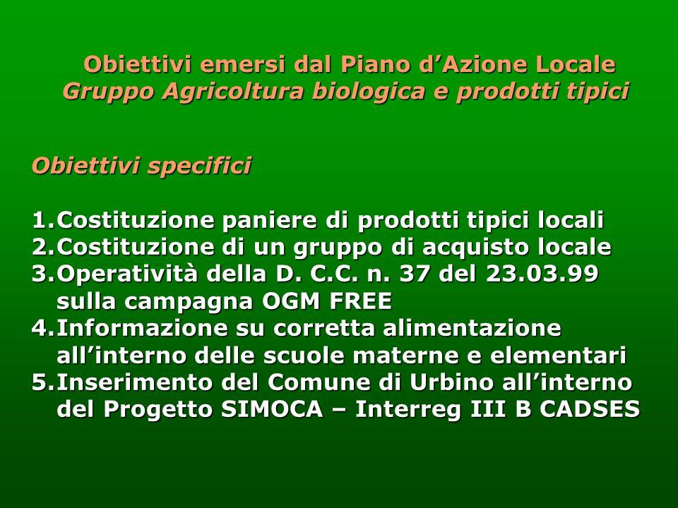 Obiettivi specifici 1.Costituzione paniere di prodotti tipici locali 2.Costituzione di un gruppo di acquisto locale 3.Operatività della D. C.C. n. 37