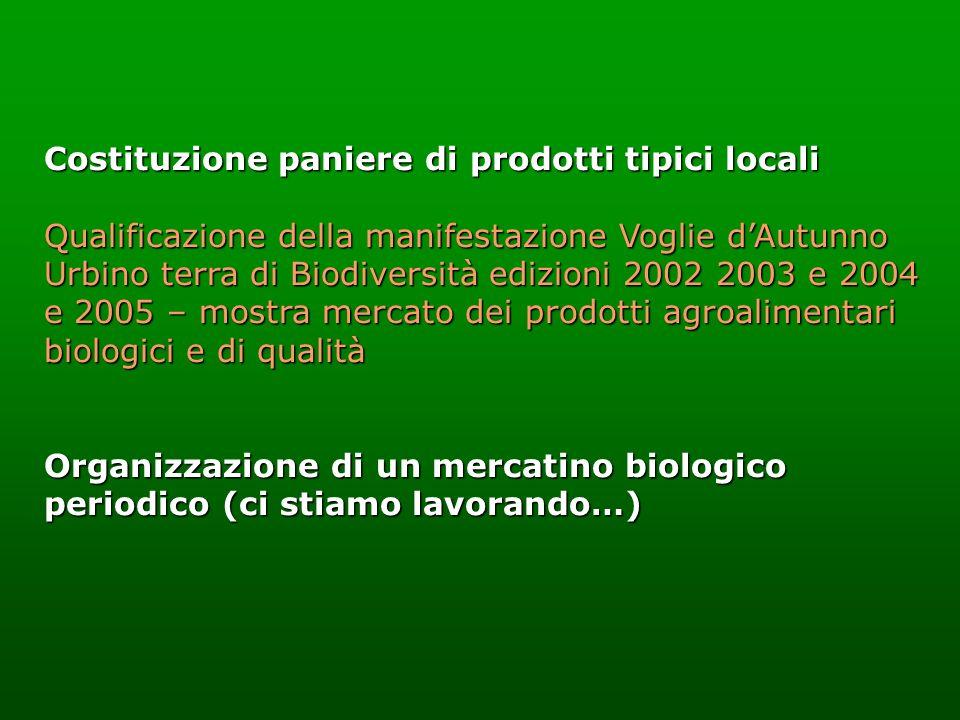 Costituzione paniere di prodotti tipici locali Qualificazione della manifestazione Voglie dAutunno Urbino terra di Biodiversità edizioni 2002 2003 e 2
