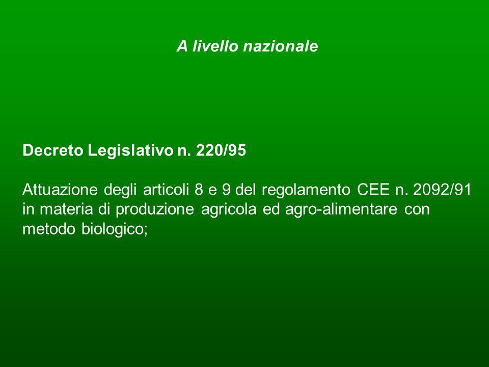 Decreto Legislativo n. 220/95 Attuazione degli articoli 8 e 9 del regolamento CEE n. 2092/91 in materia di produzione agricola ed agro-alimentare con